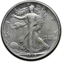 1918 Walking Liberty Half Dollar 90% Silver Coin Lot# A 574 - $112.20