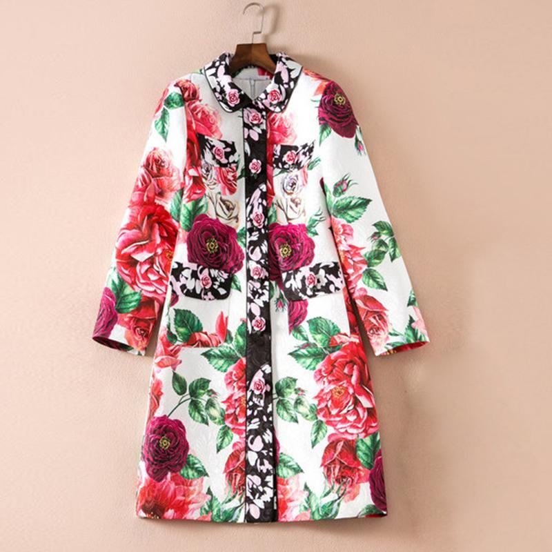 HIGH QUALITY Newest 2018 Designer Trench Women's Gorgeous Rose Buttons Floral Pr