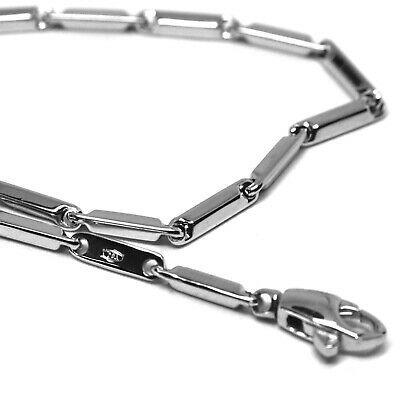 Bracelet White Gold 18K 750, Inserted Tubing, Pipe Smooth, Length 17 CM