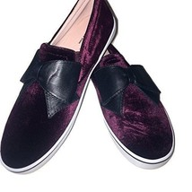 Kate Spade Delise Too Velvet Slip On Sneakers Bordeaux Mult Sz - $129.99
