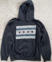 Gildan Pullover Hoodie Size Medium Gray Stars & Stripes Sweatshirt Jacket Pocket - $9.40