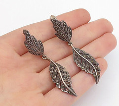 925 Sterling Silver - Vintage Marcasite Floral Leaf Dangle Earrings - E9580 - $37.42