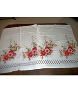 60's CAFE CURTAINS HANGING FLOWER BASKET POPPIES CHIC SHABBY COTTAGE KIT... - $26.59