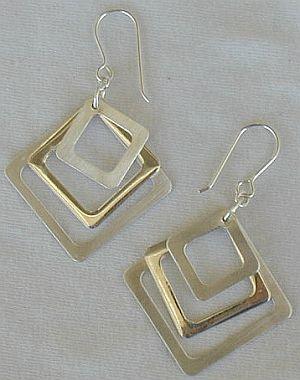 Triple square earrings