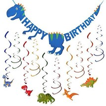 Dinosaur Party Supplies | Dinosaur Happy Birthday Banner and Hanging Swi... - $8.67