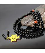 Free Shipping - 10mm Tibetan Buddhist 47 Inch natural black  jade meditation yog - $36.99
