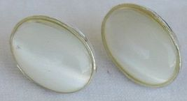 White moon oval earrings - $21.00