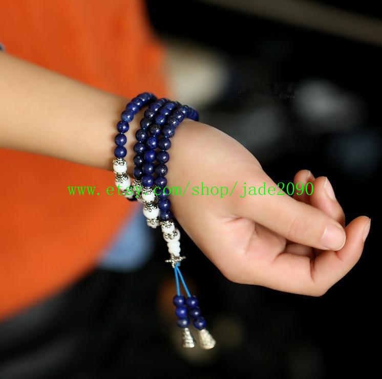 Free Shipping - Tibetan Buddhism 8 mm Natural Lapis lazuli Meditation yoga 108 P