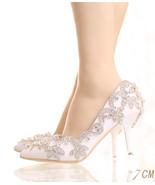 Women Ivory White Swarovski Crystals Wedding Shoes,Bridal Heels Shoes US... - £71.68 GBP