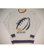 Michigan Wolverines Football NCAA Big Ten Gray Blue Gold Fleece Sweatshi... - $39.59