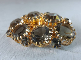 Gray Crystal Vintage Brooch Old Bronze Tone Brooch Gray Glass Rhinestone... - $29.00