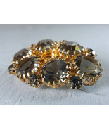 Gray Crystal Vintage Brooch Old Bronze Tone Brooch Gray Glass Rhinestone... - $29.00