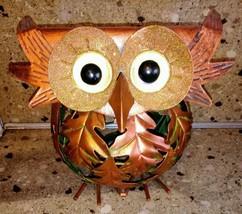 OWL Metal Autumn Tea light Holder Candle Leaves Orange Round - $14.84