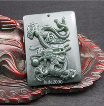 Free Shipping - Hand-carved natural green jadeite jade Chinese dragon charm Good - $26.99