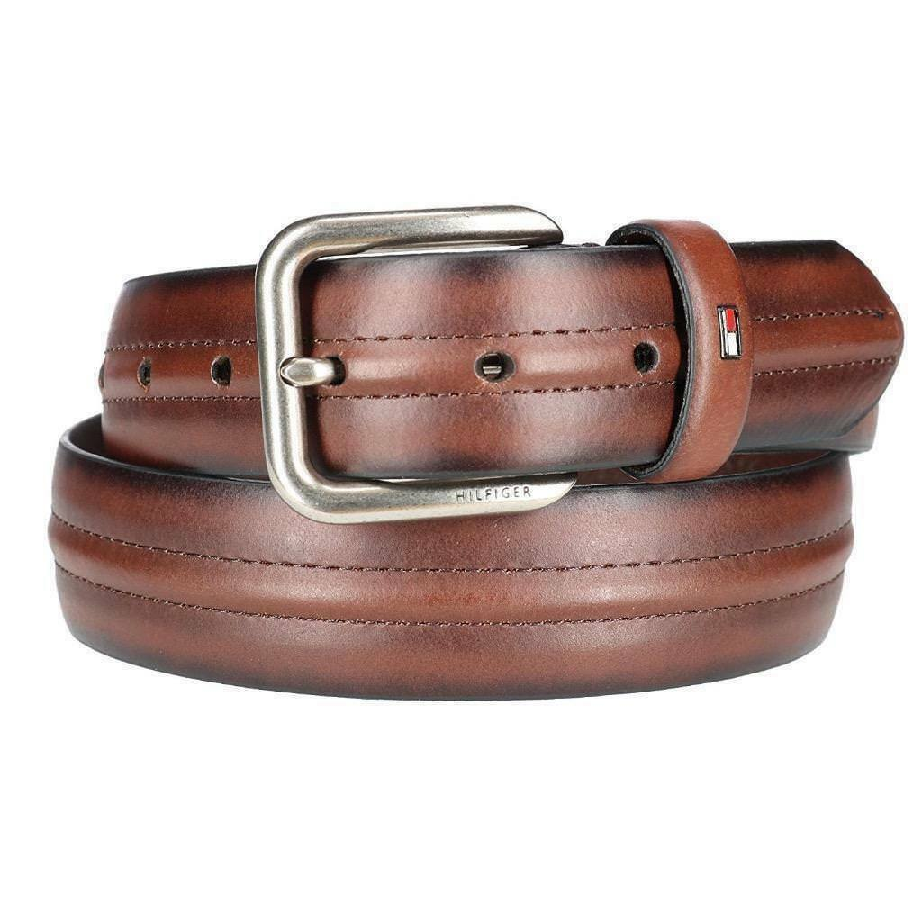 Tommy Hilfiger Men's Center Ridge Detail Casual Leather Belt Brown 11TL02X213
