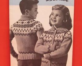 Vintage Beehive Knitting Patterns CHILDRENS Cardigan Sweater LAPP FJORD - $6.95