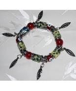 Red Evil Eye & Purple Gold Floral Bead Stretch Bracelet - $14.95