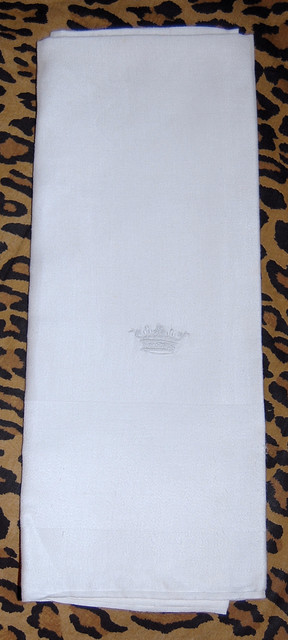 Vintage White Damask Cornet Embroidered Tea Towel