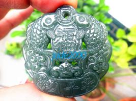 Free shipping - jadeite jade fish , Natural green  jadeite jade carved  two Fish - $19.99
