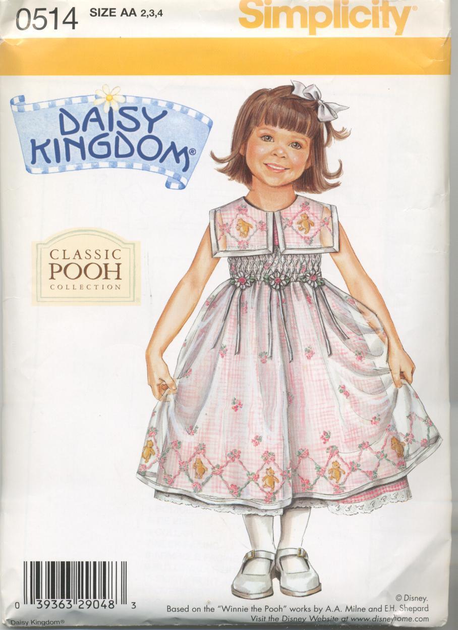 Child Dress Simplicity 0514 Daisy Kingdom Classic Winnie the Pooh sz 2, 3, 4