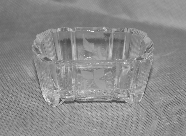 Antique Pressed Etched Glass Salt Dip