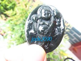 FREE SHIPPING Natural dark green  jade Happy /  happiness /  Compassion buddha c - $22.00