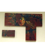 Original Art painting 36x26 assemblage abstract woman BOS Co - $595.00