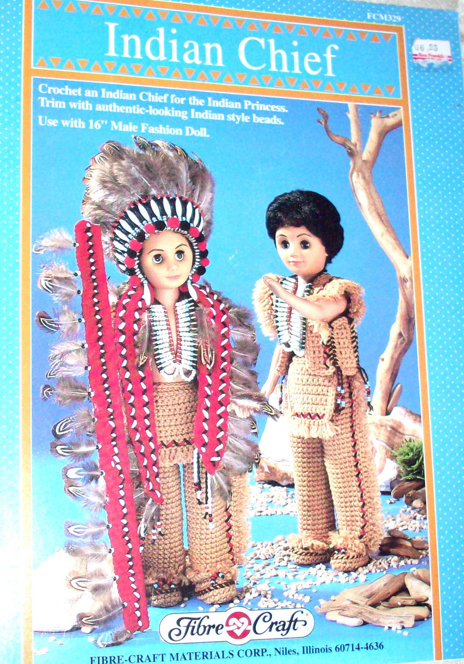 Fibre Craft 1992 pattern ~ Indian Chief & Indian princess Crochet Pattern for 16