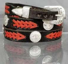 Black HATBAND with Braided Red LEATHER, Silver CONCHOS and Buckle Set Ha... - $26.06