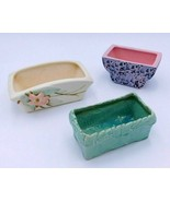 3 Vintage McCoy Planters Pottery Set Blossom Time Floral Brocade Woven 6... - $44.99