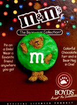 "Boyds BearWear Pin ""Green M&M's®"" Licensed Resin Pin #919007 -New- Retired - $9.99"