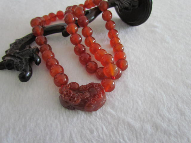 Primary image for Free Shipping - Natural Red jadeite jade carved Amulet Pi Yao meditation yoga pr