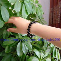 Free Shipping - perfect 100% real natural black  jadeite jade Prayer Bea... - $15.99