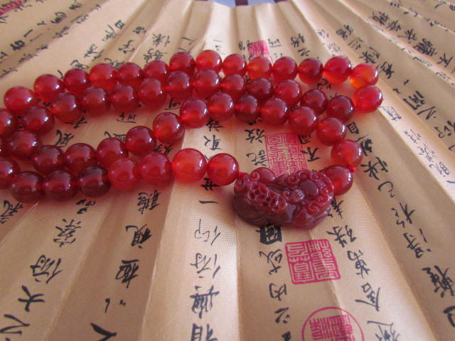 Free Shipping - Natural Red jadeite jade carved Amulet Pi Yao meditation yoga pr
