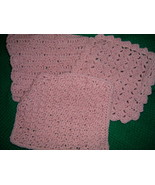 Hand Crafted Crocheted Dish Clothes Pink Set of 3 - $8.50