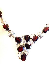 Handmade Vintage 925 Sterling Silver Genuine Garnet Choker Necklace - $242.55