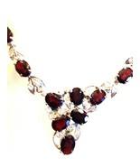 Handmade Vintage 925 Sterling Silver Genuine Garnet Choker Necklace - $242.55