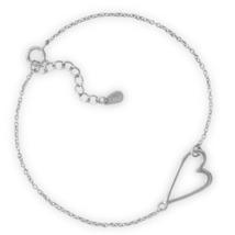 Sterling Silver Chain Bracelet with Sideways Heart Design   - $24.99