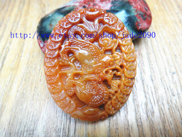 Free Shipping -   luck Yellow jade dragon ,Hand- carved Natural yellow jadeite j - $25.99