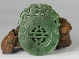 Free Shipping -  good luck Natural Green jade jadeite carved prayer luck  Amulet - $29.99