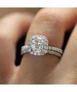 Huitan 2 pc Halo Design Round Wedding Ring- Silver Ring,CZ Ring,Engageme... - $86.00