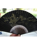 Antique Vintage Asian Chinese Japanese Hand-Painted Folding Hand Fan Bla... - $35.00