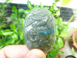 Free Shipping - green jadeite jade Hand- carved Natural green Dragon and Phoenix - $19.99