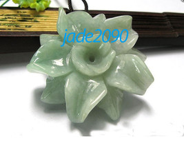 Free Shipping - good luck Hand carved Natural Green jade  Flower charm jade Pend - $19.99