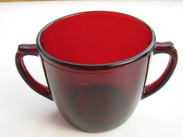 Vintage Anchor Hocking Royal Ruby 4000 Line Sugar Bowl & Creamer - 1950s image 2