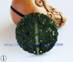 Free Shipping -  Couple pendants , Natural black green jade carved Dragon Phoeni - $19.99