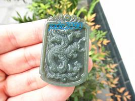 Free Shipping - Amulet auspicious  Chinese Dragon Natural  Green jadeite jade Ca - $19.99