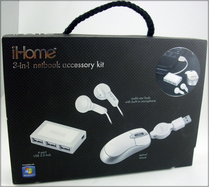 iHome IH-B935NW 3-in-1 Netbook Mouse Acc Kit White New!