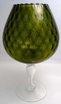 FENTON XLARGE Olive DIAMOND OPTIC Brandy Snifter Vase 1950s Mid Century Mod image 2