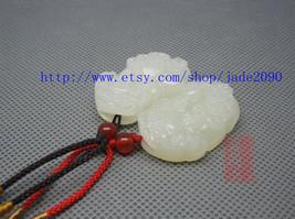 "Free Shipping - good luck natural white charm jadeite jade charm ""PI YAO"" pendan - $19.99"